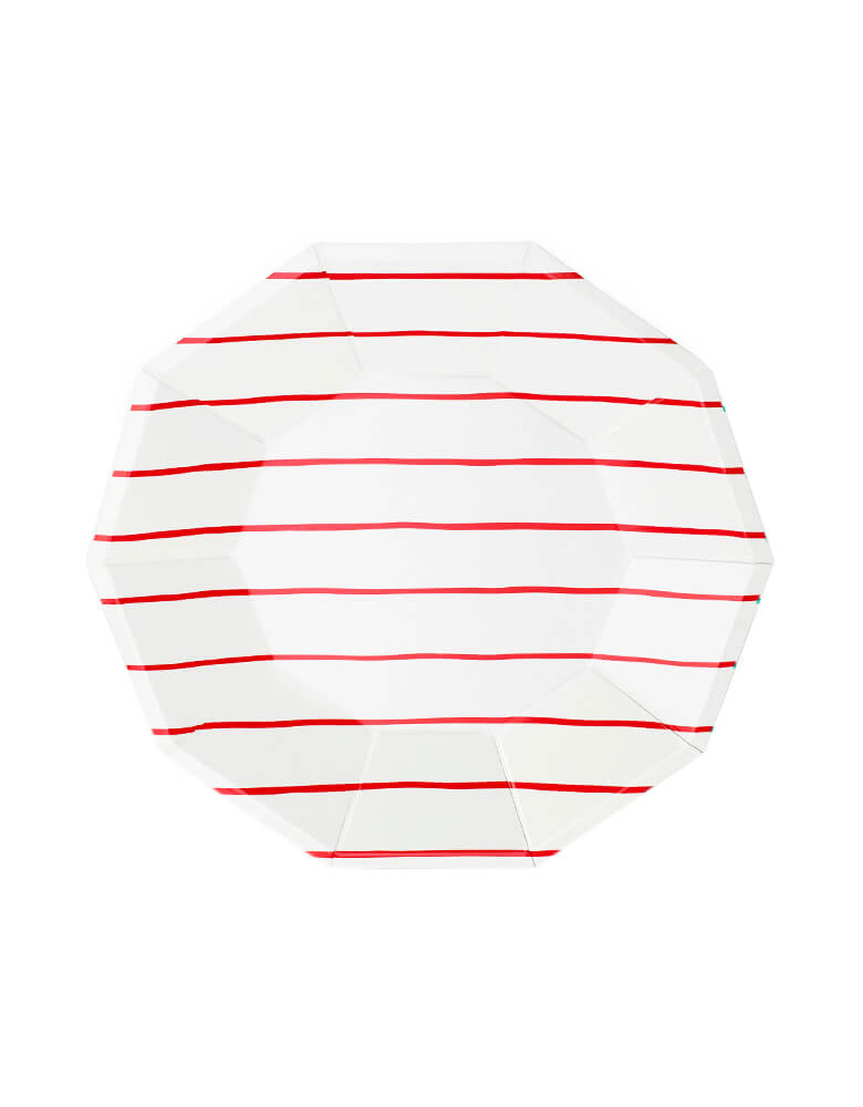 Daydream Society Frenchie Striped Large Paper Party Plates, Pack of 8, Candy Apple Red.  A Eco-friendly modern party tableware, simple modern look design supplies for Modern party event, baby shower, bridal shower, any event celebration.