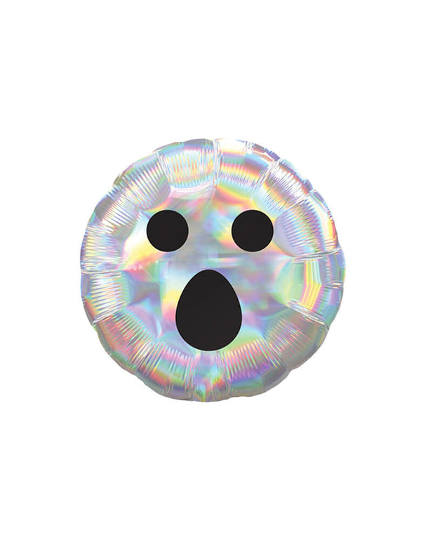 Anagram Iridescent Ghost Face 18″ Balloon, Feathered black Ghost face over iridescent round foil balloon, fun backdrop decoration, balloon garland decorations, for kid Halloween party, party at home, Haunted House Party