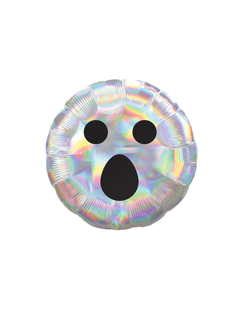 Anagram Iridescent Ghost Face 18″ Balloon, Feathered black Ghost face over iridescent round foil balloon, fun backdrop decoration, balloon garland decorations, for kid Halloween party, party at home, Witch Party, Haunted House Party, nightmare before christmas Party
