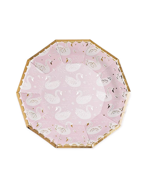 "Daydream Society 9.5"" Sweet Princess Swan Large Paper Plates Featuring blush pink and white paired with gold foil-pressed elements for a sweet princess party"