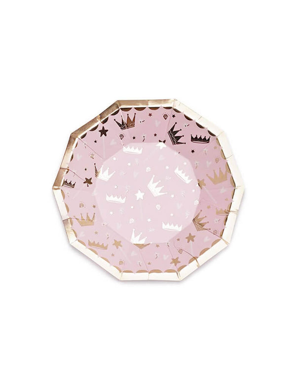 Daydream Society Sweet Princess Plate in pink with crown designs on a gold foil edge