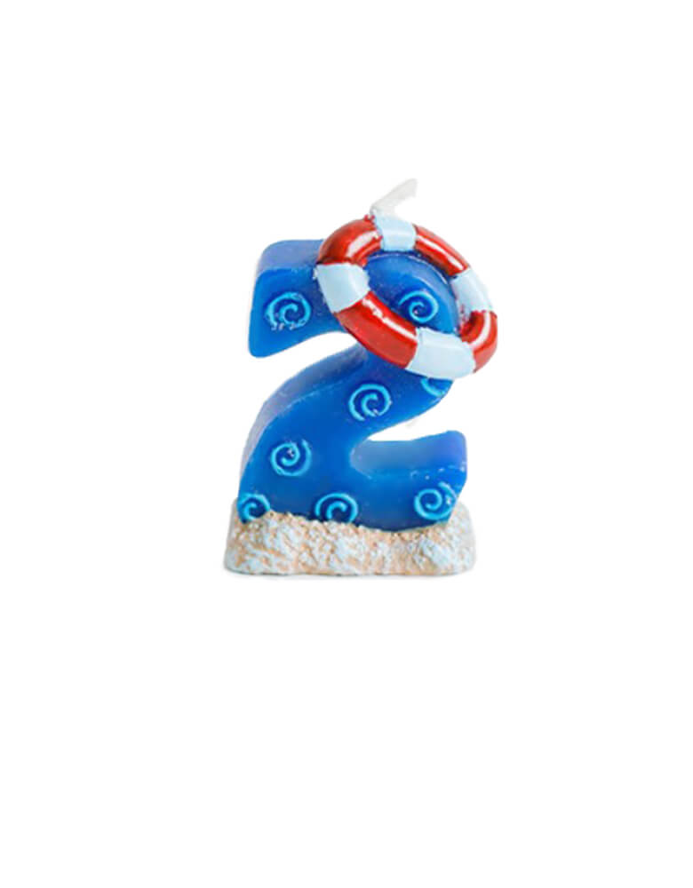 sea themed number candle - number 2 candle. Sea themed birthday party, nautical themed birthday party