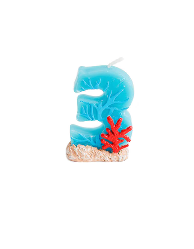 sea themed number candle - number 3 candle. Sea themed birthday party, nautical themed birthday party