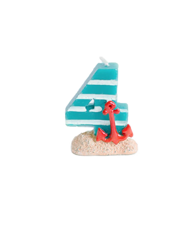 sea themed number candle - number 4 candle. Sea themed birthday party, nautical themed birthday party