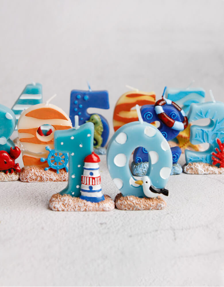 sea themed number candles. Sea themed birthday party, nautical themed birthday party