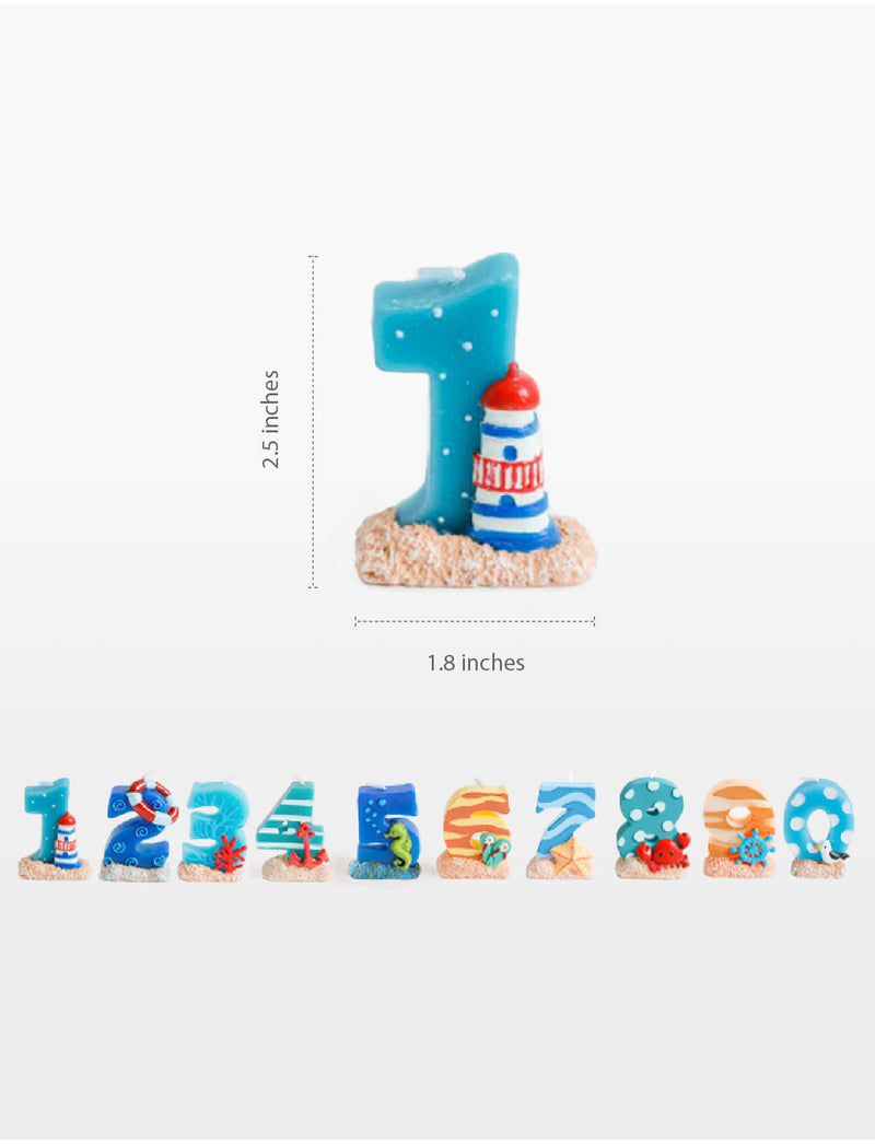 sea themed number candle s. size measurement. Sea themed birthday party, nautical themed birthday party