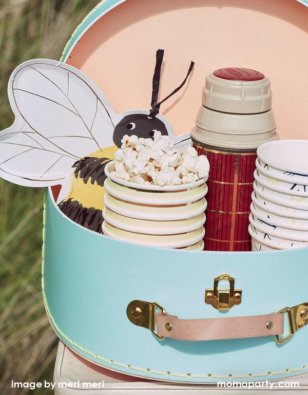 a close up look of Meri Meri bee plates with a vintage water bottle, popcorn inside Let's explore paper cups,  in a vintage pale blue Suitcase for a camping themed party