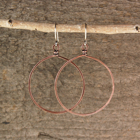 $28 - Twisted Copper Hoops - Grande