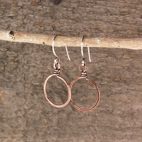 $19 - Twisted Copper Hoops - Small