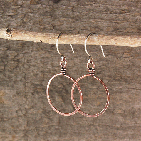 $22 - Twisted Copper Hoops - Medium
