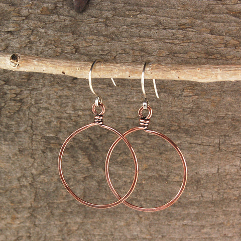 $25 - Twisted Copper Hoops - Large