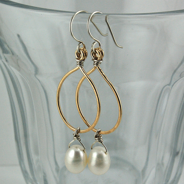 $36 - Tear Drop Earrings - Gold & Pearl - Medium