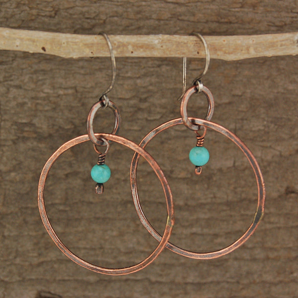 $33 - Turquoise Hoop Earrings