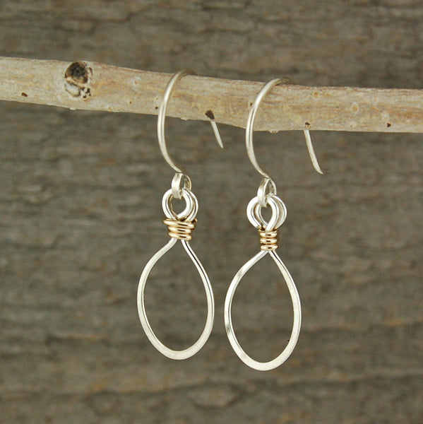 $25 - Tear Drop Earrings - Silver & Gold - Small