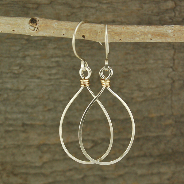 $28 - Tear Drop Earrings - Silver & Gold - Medium