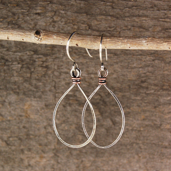 $28 - Tear Drops - Silver & Copper - Medium