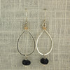 $36 - Tear Drop Earrings - Silver, Gold & Black - Medium