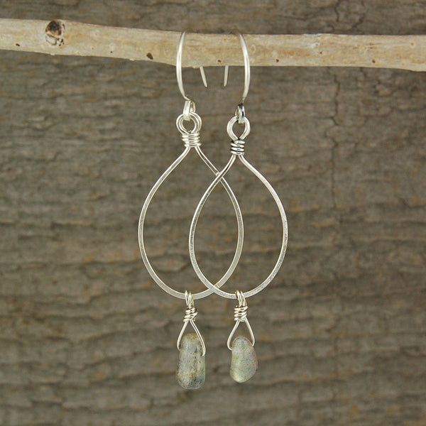 $36 - Tear Drop Earrings - Silver & Grey - Medium