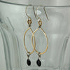 $36 - Tear Drop Earrings - Gold & Black - Medium