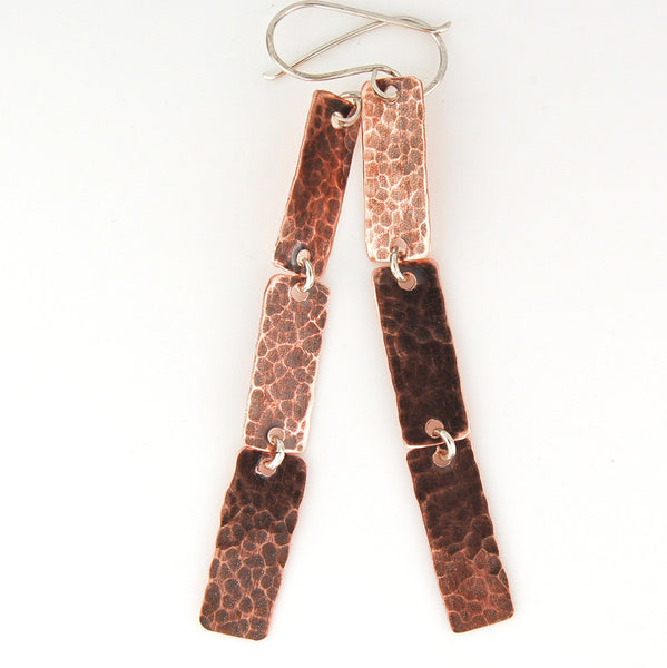 $39 - Copper Rain Earrings - Hammered