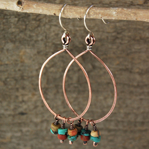 $36 - Turquoise Sunset Hoops