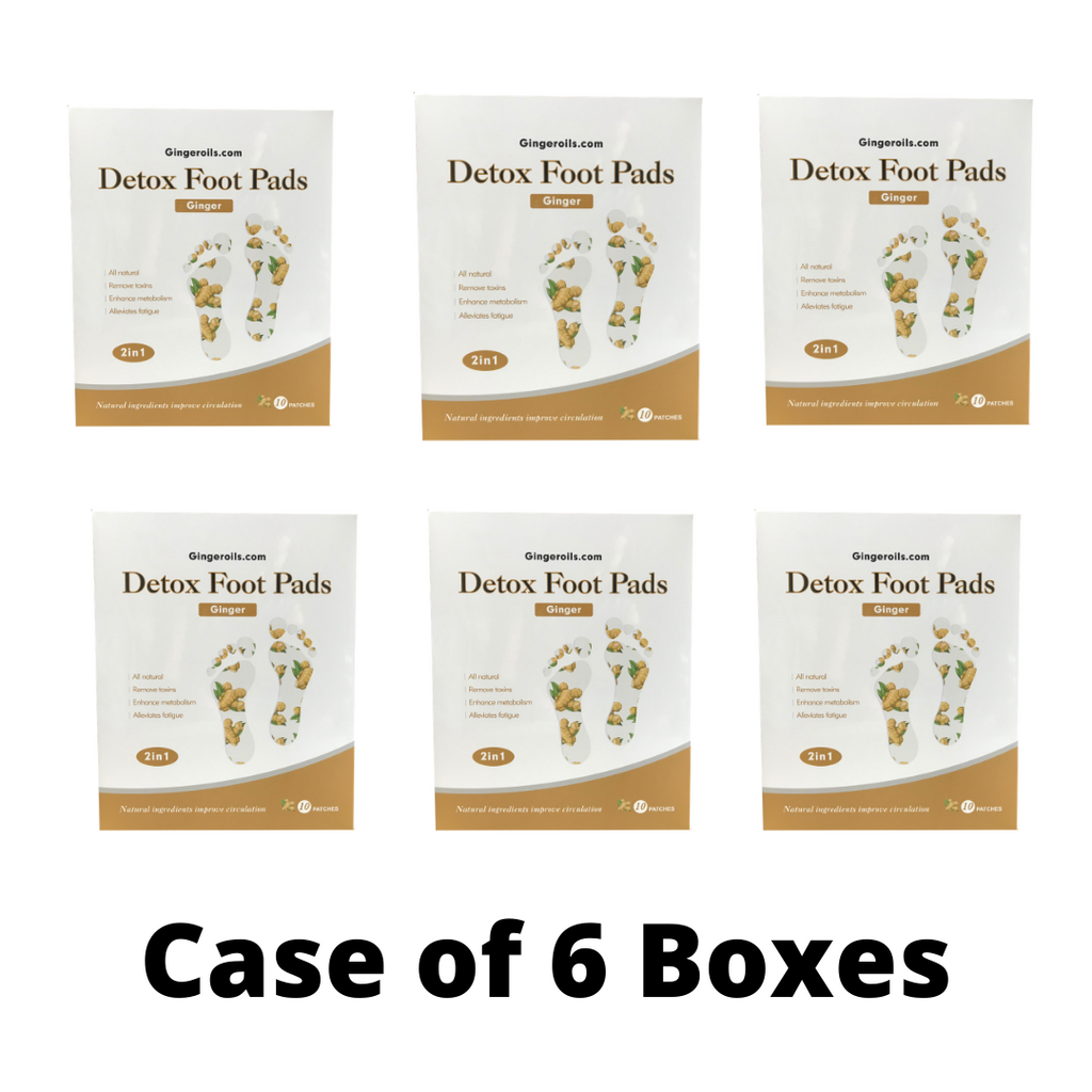 6 Boxes of All-Natural Ginger Detox Foot Pads (10 Patches)