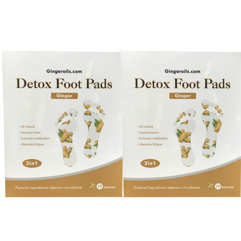 2 Boxes of All-Natural Ginger Detox Foot Pads (10 Patches)