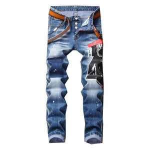 New Men jeans stretch printed ripped skinny jeans