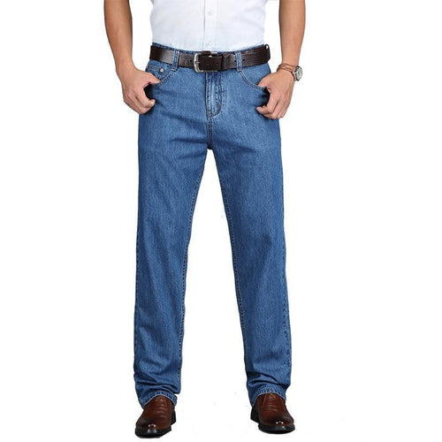 Cotton Summer Men Classic Blue Jeans Straight