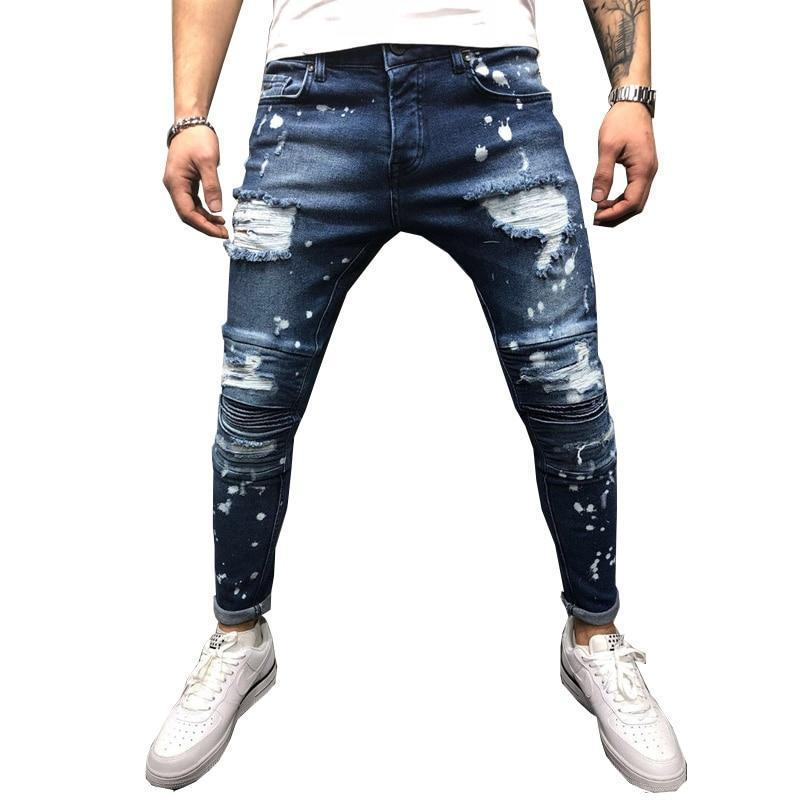 Men Jeans Stretch Destroyed Ripped Paint
