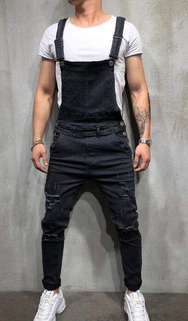 Fashion Men's Ripped Jeans Jumpsuits Hi Street Distressed