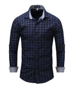 Long Sleeved Male Denim Plaid Shirts Large Size Spring