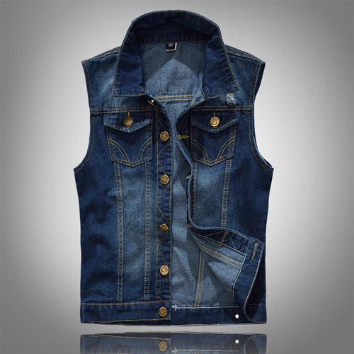 Cotton Jeans Sleeveless Jacket Vest Men