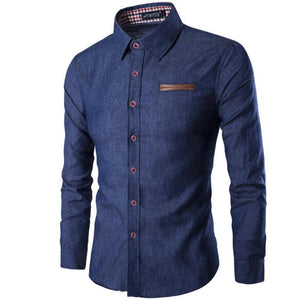 New Fashion Brand Men Shirt Pocket Fight Leather