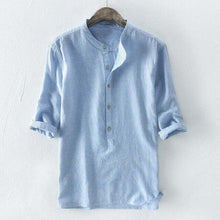 Fashion Striped Mens Shirt Stand Collar Half Sleeve