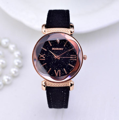 Women Fashionable Rose Gold Leather Watches