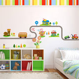 Cartoon Highway Car Track Wall Stickers
