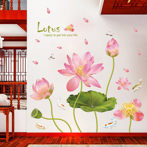 Beautiful Pink Lotus Wall Art Decals Sticker