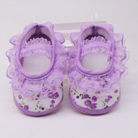 Pretty Baby Girls Cotton Anti-Slip Lace Shoes