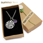 Love Heart Crystal Birthstone Mom Stainless Steel Pendant Necklace