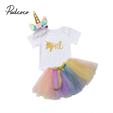 Baby Girl First Birthday 3 pcs. Unicorn Party set