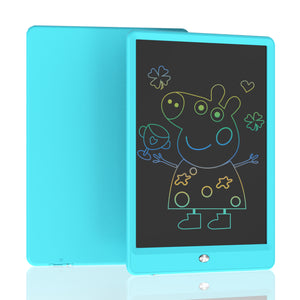 Blue digital writing pad allows you to write brief notes or drawings