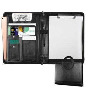 NEWYES Zippered Leather Portfolio, Multifunctional Business Files Organiser with Pockets and Card Holders