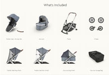 Load image into Gallery viewer, Included with your UPPAbaby VISTA V2 - toddler seat, bumper bar, carrycot/bassinet, frame, wheels, bug shield, rain shield