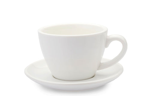 WHITE 8oz Cup & Saucer