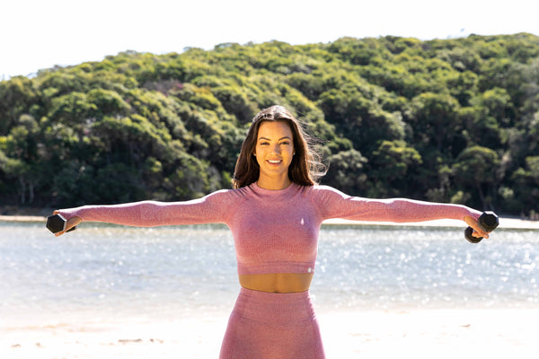 Edge Seamless Long Sleeve Pink Crop Top