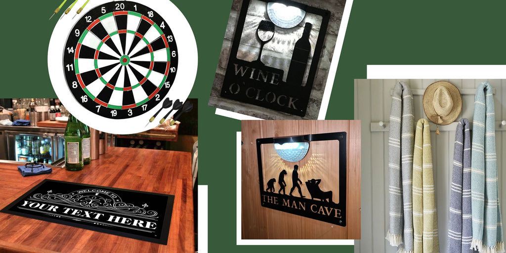 Gifts for Dad's who has a Pub Garden or Man Cave. Dart Board, Personalised Beer Mat.