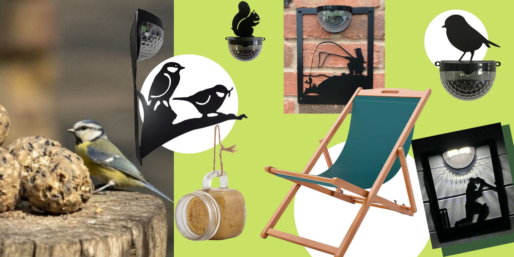 Garden Gifts for Father's who love being outside in nature and in their garden. Bird Feeders and Garden Chair.