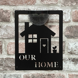 Our Home Sign with Solar Powered Light