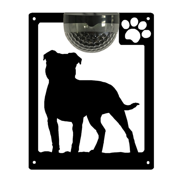 Staffie Dog Solar Light Wall Plaque